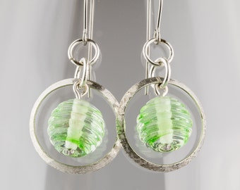 Sterling Silver and Grass Green Transparent Glass Earrings