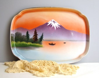 Vintage Noritake lusterware tray with landscape - Komaru symbol - 1930s decorative tray with mountains, forest and lake