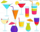Cocktails Clipart Set - clip art set of cocktails, drinks, summer drink, cocktail - personal use, small commercial use, instant download