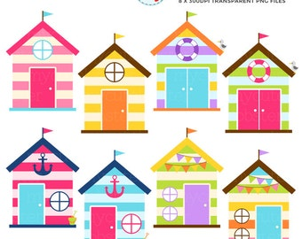 Beach Houses Clipart Set - clip art set of beach houses, huts, beach, house, summer - personal use, small commercial use, instant download