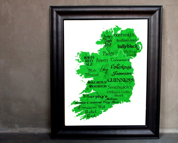 """Best of Irish Whiskey and Beer Word Art, 11""""x14"""" on Fine Art Paper"""