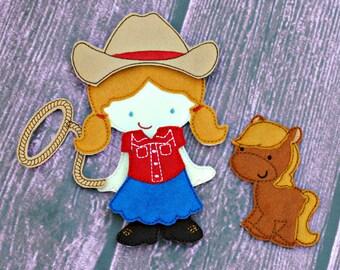 Cowgirl Doll, Felt Paper Doll, Quiet Toy, Felt UnPaper Doll, Felt Toy, flannel board, felt board, busy bag, quiet book, soft toy, Flat Doll