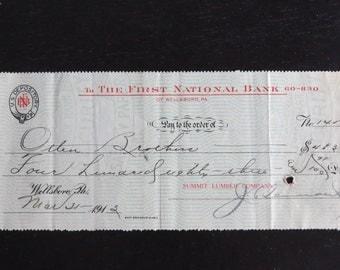 1913 First National Bank Check Wellsboro Wilkes-Barre Pa Summit Lumber Otten Bros