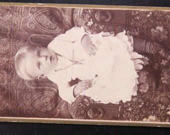 Antique CDV Photograph Little Baby with Camera Logo Backmark Chicago