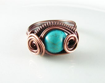 Wire Wrapped Ring Turquoise Copper Ring Size 8 Dragons Eye Ring Wire Wrapped Jewelry Copper Jewelry Turquoise Ring
