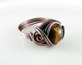 Wire Wrapped Ring Prehnite Ring Copper Ring Size 7 Dragons Eye Ring Wire Wrapped Jewelry Copper Jewelry Beaded Ring