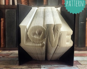 Folded Book Art Love Word Typography Heart Pattern & tutorial, gift, decoration