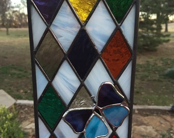 Contemporary Stained Glass Panel - Butterfly Window (PLG030)