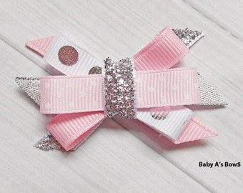 Pink and Silver Foil Metallic Itty Bitty Bow - Pink and Silver, Pink Silver Birthday, Twinkle Little Star, 1st Birthday, Birthday Bow