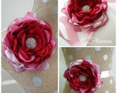 Red and pink fabric flower rose, Wedding red flower brooch,Bride or bridesmaids hair accessory, Wedding cake topper, red rose fascinator