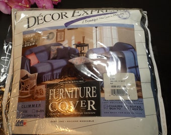 """Chair cover by Decor Express.NEW  in original pack.New old stock.Copen blue color.90"""" x 70"""". Home decor.bedspread.USA.easy care"""
