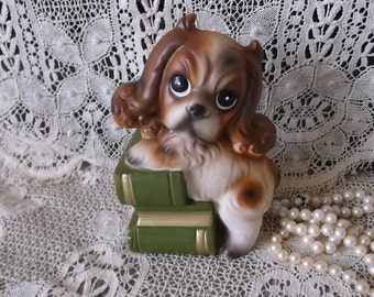 Vintage 1950s Puppy Dog on books, Japan