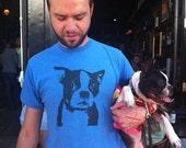 Boston Terrier Shirt -American Apparel Screenprinted - Heather Blue - Men's or Unisex