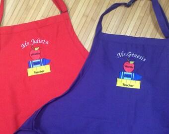 Women's Teacher Kitchen Chef Apron Books Apple Personalized