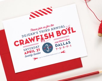 Crawfish Boil Party Invitations - Seafood Boil Birthday Party Invitations