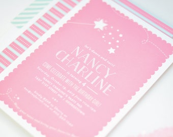 Princess Ballerina Birthday Invitations - Little Princess Girls Birthday Party Invitation - Pink Scallop Star Wand Invitation
