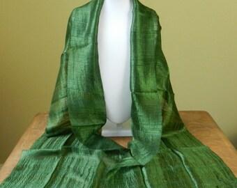 """Thai Raw Pure Silk Scarf  12x62"""" Long Scarf Neck Scarf Handdyed in Dark Green  R21"""