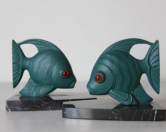 French Art Deco Style Book Ends  Marble Base, Fish Book Ends, Nautical Book Ends