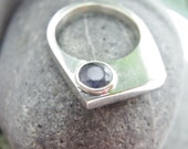 Simple Geometric Ring. Sterling Silver Set with Lavender Blue/Purple Iolite.