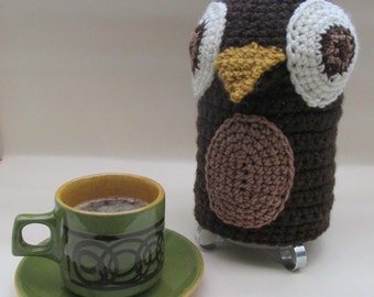 Crochet Owl Cafetiere/French Press/Bodum Coffee Cosy - Made to Order
