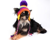 Rainbow Dog Hat crochet striped ear flap hat for dogs