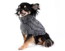 Hand Knit Dog Sweater Cable Knit in Charcoal Grey ltd. Edition dog clothes