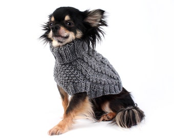 LARGE Hand Knit Dog Sweater Cable Knit in Charcoal Grey ltd. Edition dog clothes