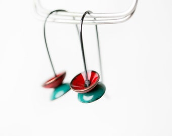 Enamel Stacked Pebble Earrings : Vibrant Red and Teal