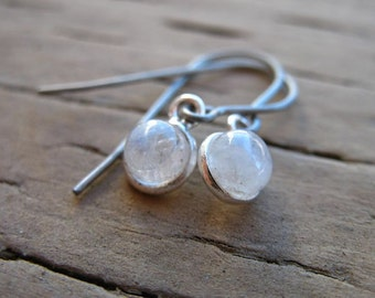 Titanium Earrings, Moonstone in Sterling Silver on Titanium Ear Wires