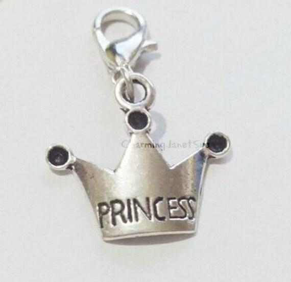 20x princess crown charm bracelet lobster claw by
