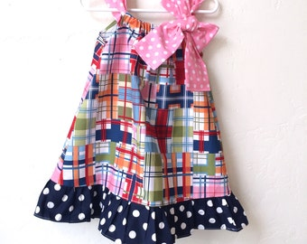 3T toddler girls madras beach dress