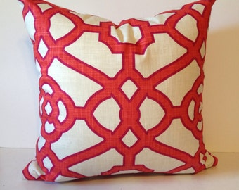 Geometric Pillow Cover in Papaya Fretwork