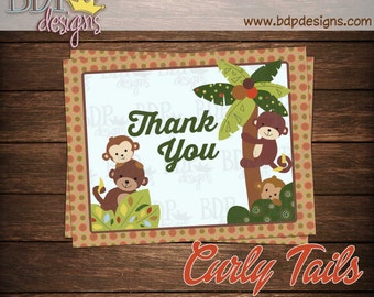 """Monkey Curly Tails Thank you Card (4.25""""x5.5"""")"""
