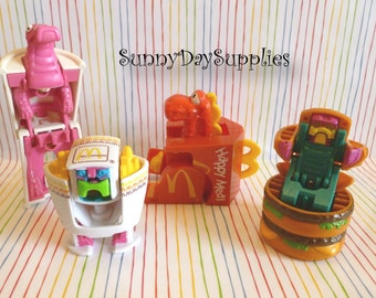 Vintage McDonalds Happy Meal Toys Changeables, 4 toys,  Happy Meal Box, Burger, Fries, Drink ~ Robots and Dinosaur,  Food Toys