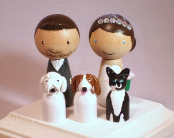 Custom Cake Kokeshi Toppers with Three Pets Fully Customizable---3-D Accents