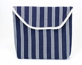 Bicycle Handlebar Bag in a Striped Navy and Cream Fabric