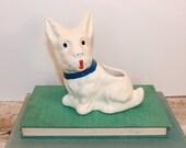 White Scottie dog planter. Dog vase. Terrier
