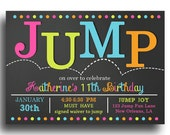 Jump Invitation Printable - Jump, Bounce, Trampoline Birthday - JUMP Love Collection