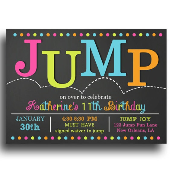 Trampoline Party Invitations: Jump Invitation Printable Jump Bounce Trampoline Birthday