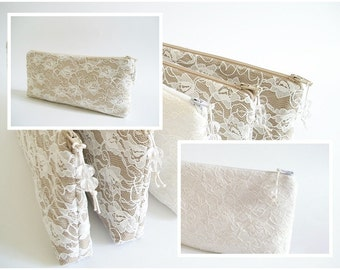 Lace Wedding Clutches, Set of 5, Nude Bridesmaids Bags, Ivory Bridesmaids Bags