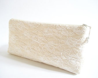 Ivory Lace Bride Clutch Bridal Shower Statement Gift Bag Cosmetic Accessory Purse Handmade