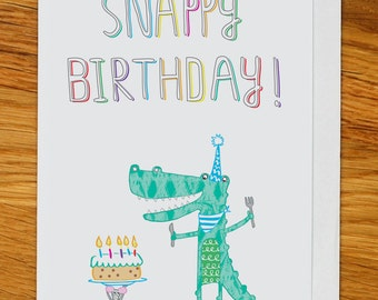 crocodile birthday card, snappy birthday card with alligator, mouse and birthday cake