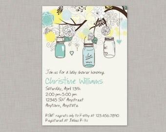 Mason Jar Invitation, Baby Shower, Bridal Shower, Mason Jar Birthday, Printable