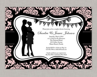 Couples Baby Shower Invitation, Girl Baby Shower Invitation, Damask Baby Shower Invitation