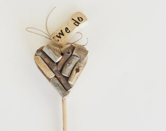 WE DO Cake Topper, Rustic Wedding Cake Topper, Rustic Heart, Personalized Cake Topper, Country Wedding Cake Topper, Barn Wood Cake Topper