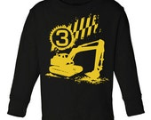 Personalized Digger Excavator long sleeve t shirt for kids - pick your colors!