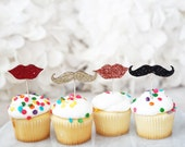 12 Glitter Wood Toppers-Mustache and Lips Cupcake and Cake Glitter Picks for Baby Shower, Bridal Shower, Birthdays, Mystery Parties & More