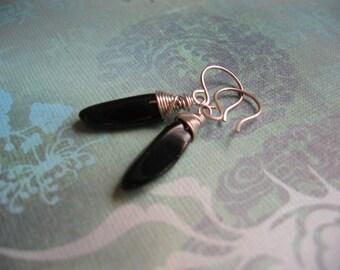 Wire Wrapped Black Onyx Stick Antique Silver Earrings - Black Earrings - Handmade Artisan Earrings