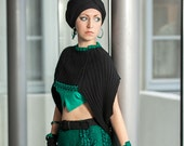 Black cropped sweater, shrug sweater, cape sweater, black and green sweater, ornament shrug