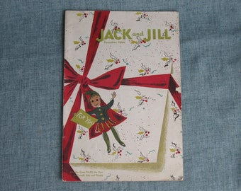 Vintage Children's Magazine Jack and Jill  December 1944 Santa Cut Out & others